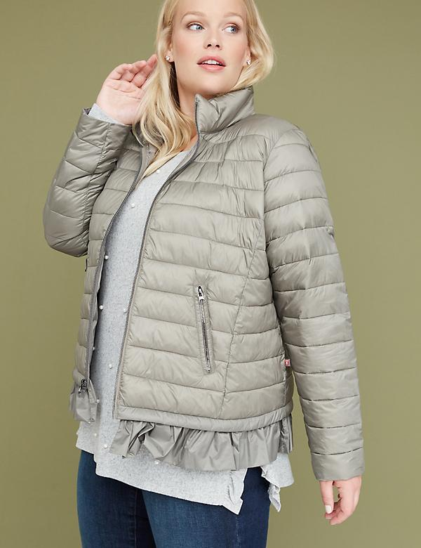 Peplum Packable Puffer Jacket with Thermoplume Technology - Sage Green