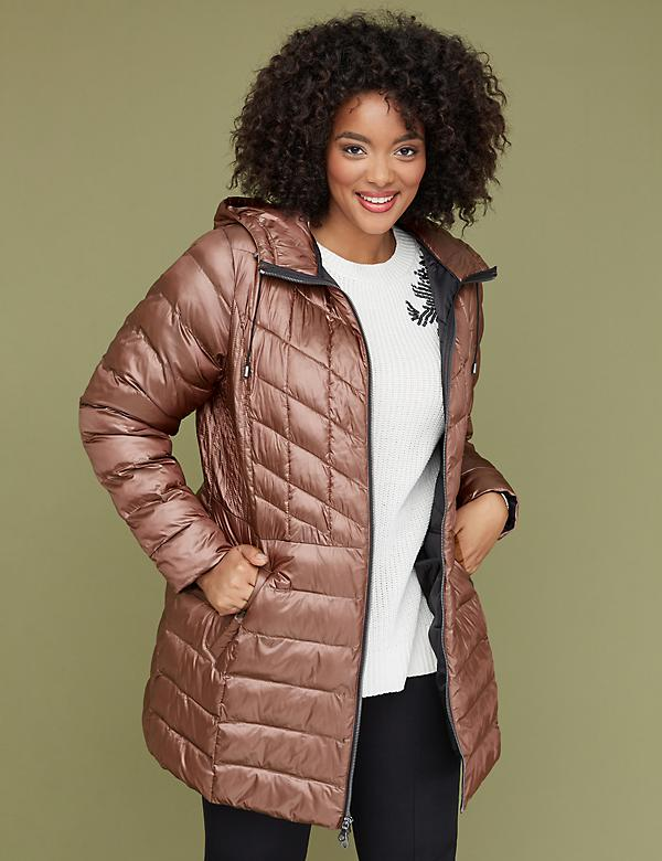 Midi Packable Puffer Jacket with Thermoplume Technology - Peach Puree