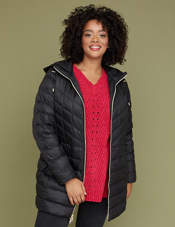 Midi Packable Puffer Jacket with Thermoplume Technology - Black