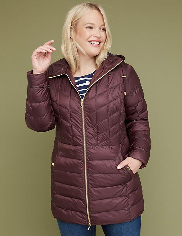 Midi Packable Puffer Jacket with Thermoplume Technology - Cabernet