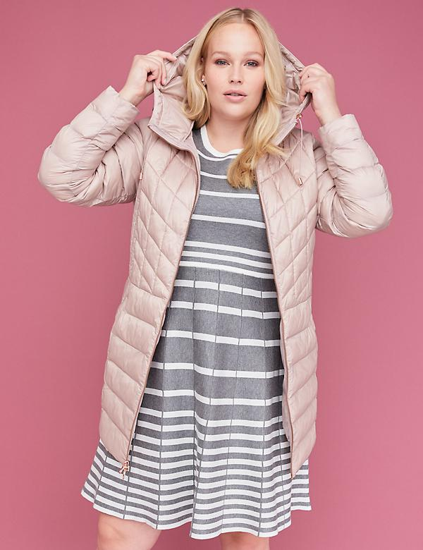 Midi Packable Puffer Jacket with Thermoplume Technology - Blush