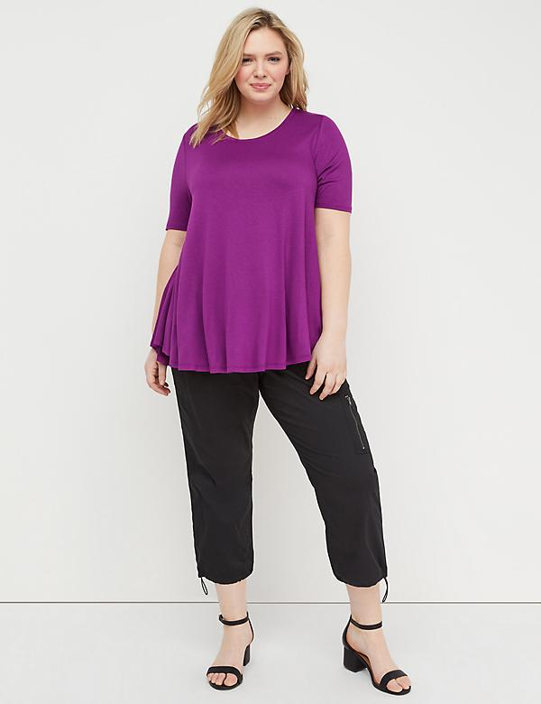Perfect-Sleeve Draped Swing Top