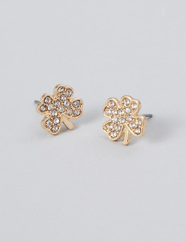 Pave Four Leaf Clover Stud Earrings