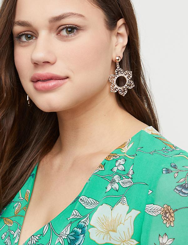 Filigree Flower Statement Drop Earrings