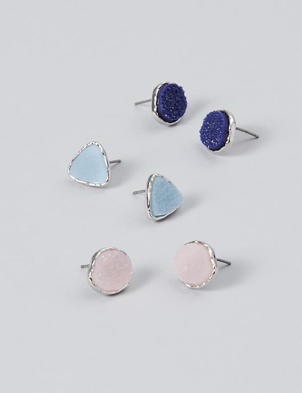 Druzy Stone Stud Earrings 3-Pack