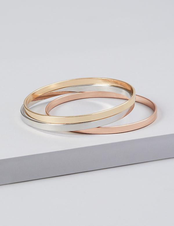 3-Row Tri-Tone Bangle Set