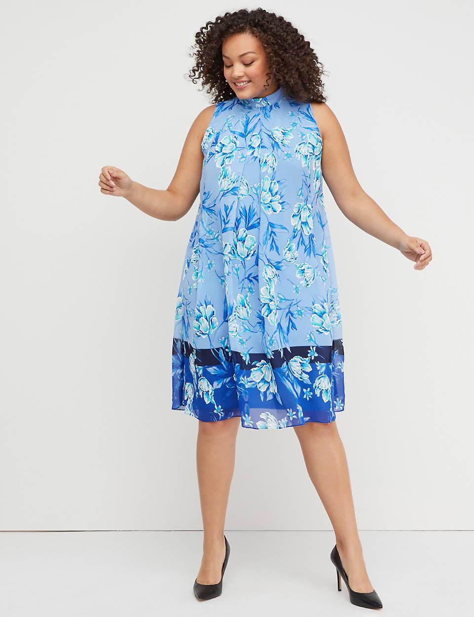 985034c697c6c Floral Mock-Neck Swing Dress | Lane Bryant