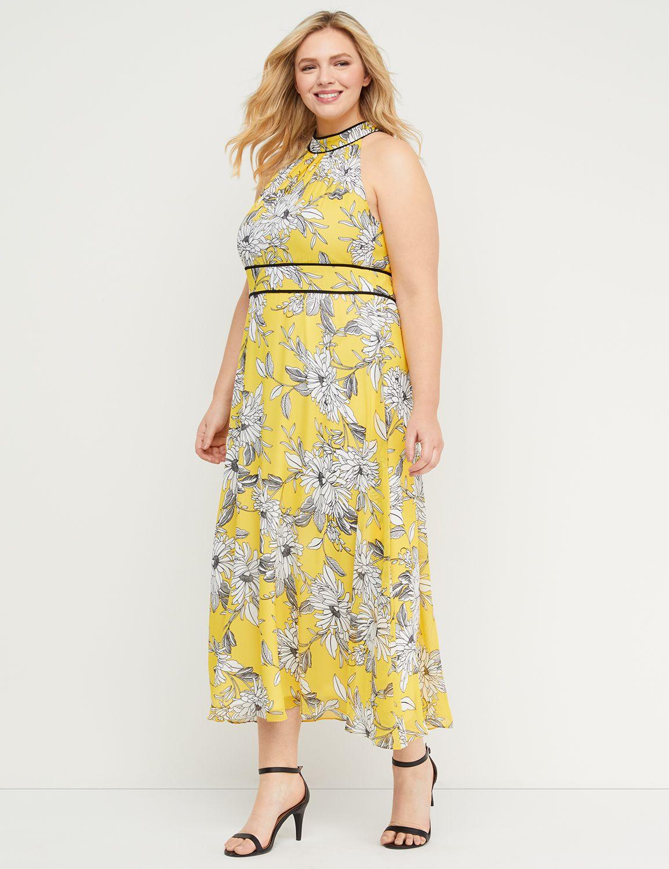 Petite Floral High-Neck Maxi Dress
