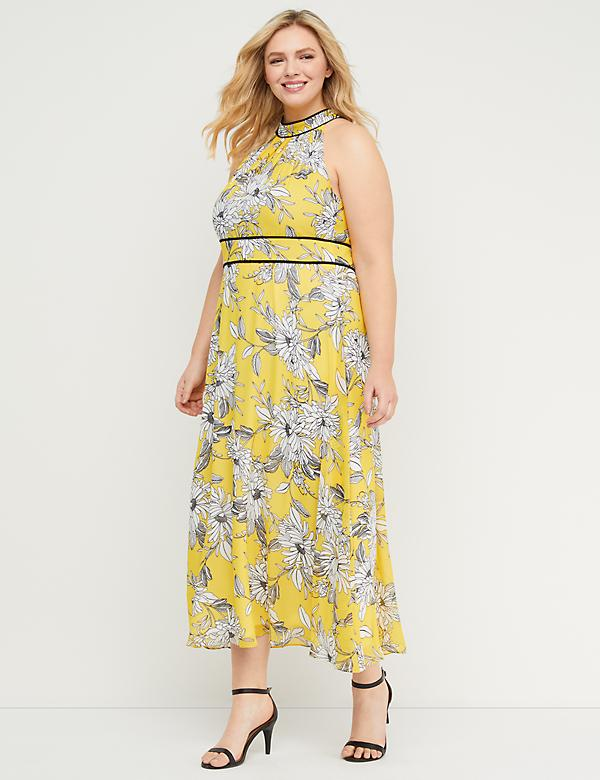 Floral High-Neck Maxi Dress