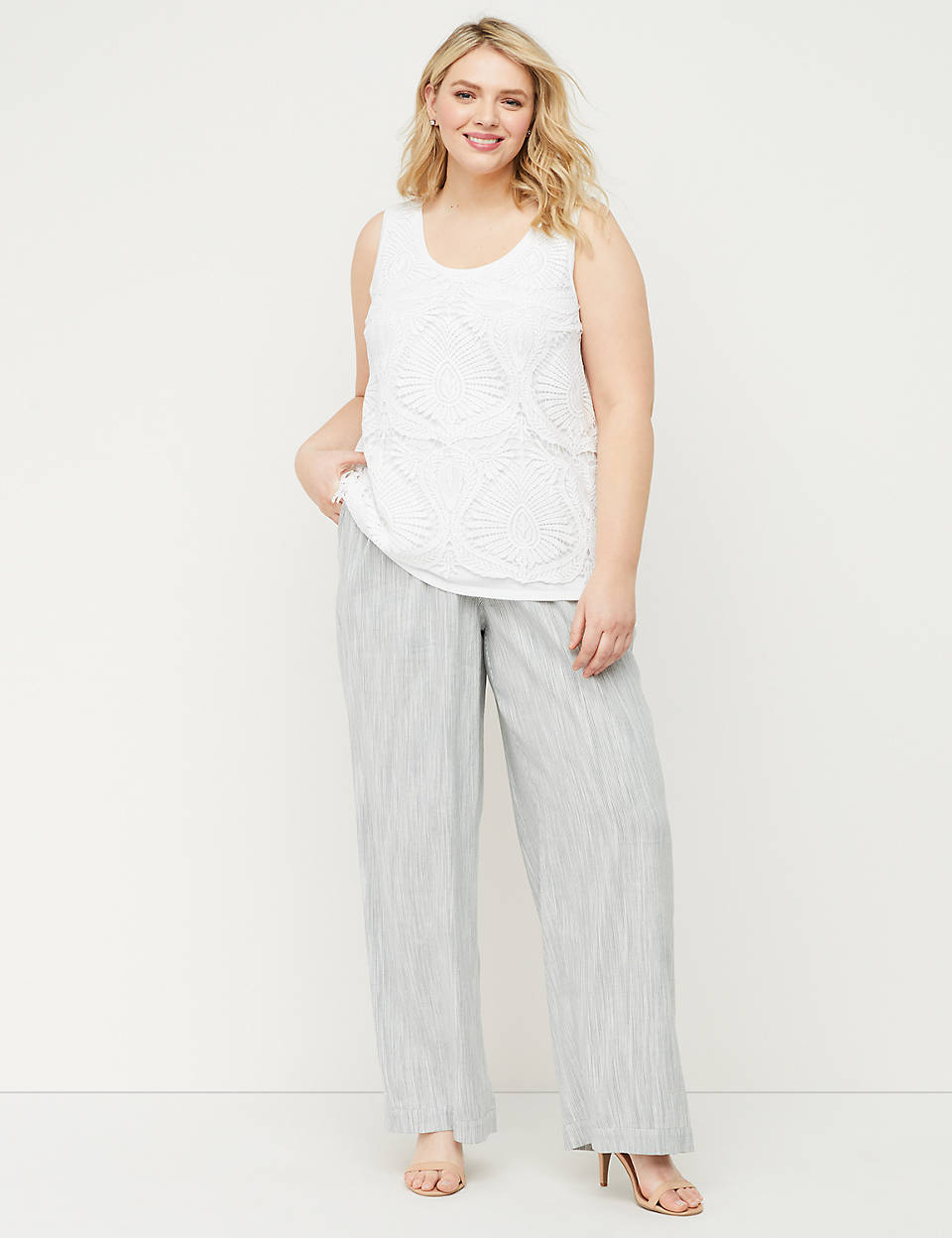 latest style discount shop lovely luster Linen Wide Leg Pant
