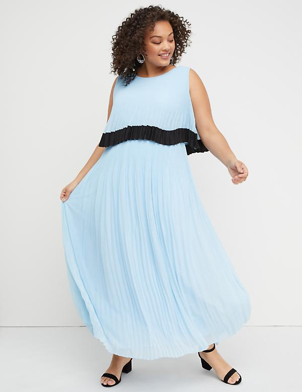 Layered Pleated Maxi Dress