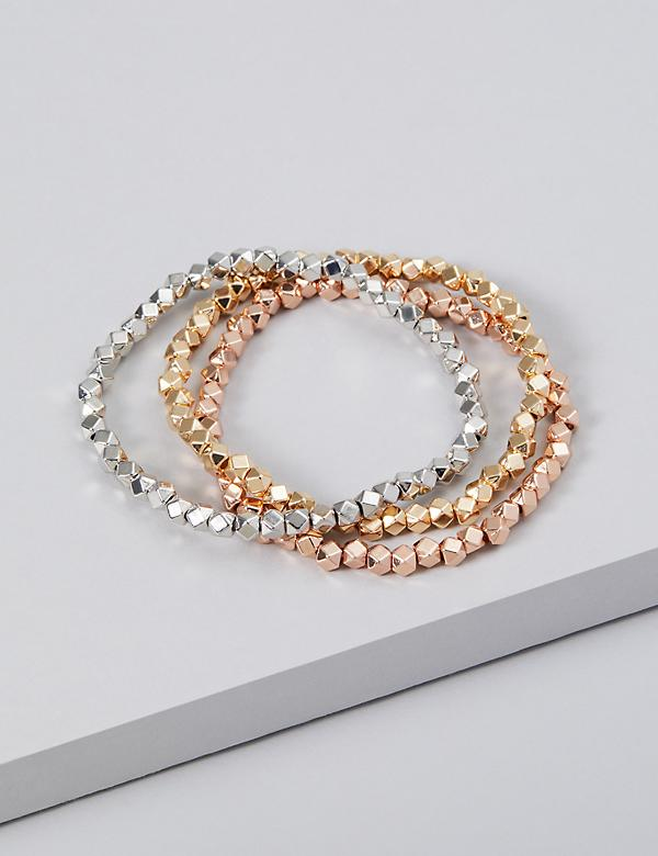 3-Row Faceted Bead Bracelet Set
