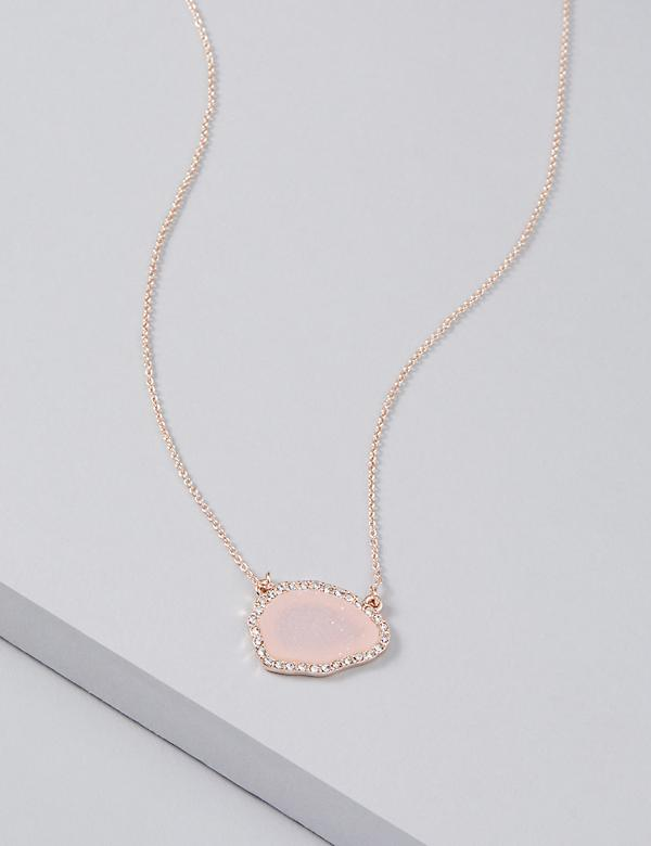 Druzy & Pave Pendant Necklace
