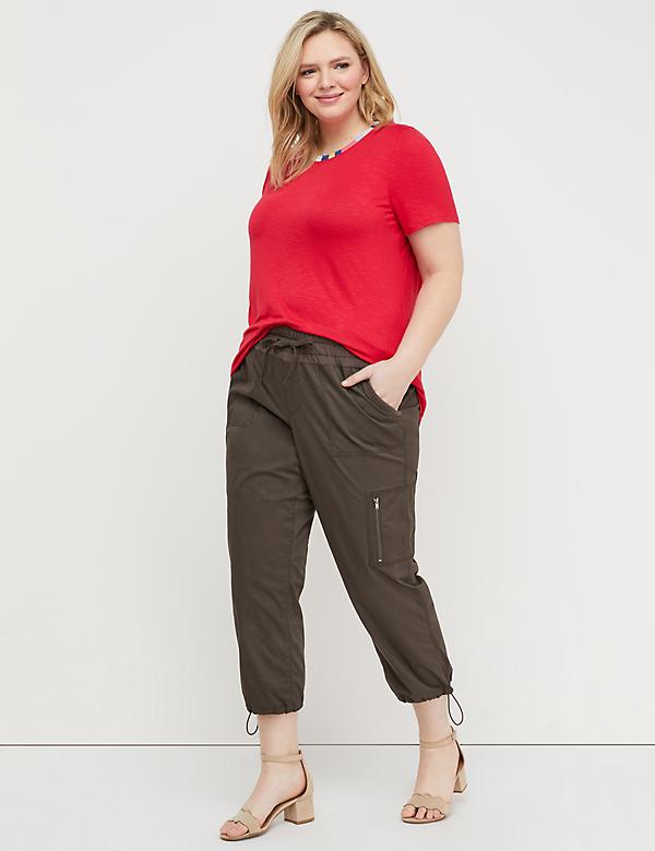 Poplin Crop with French Terry Waistband