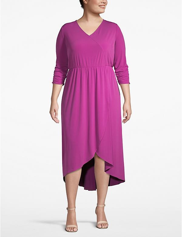 Ruched-Sleeve Faux-Wrap Dress