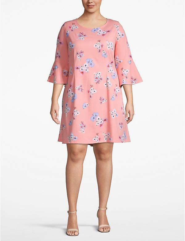 Floral Bell-Sleeve Swing Dress