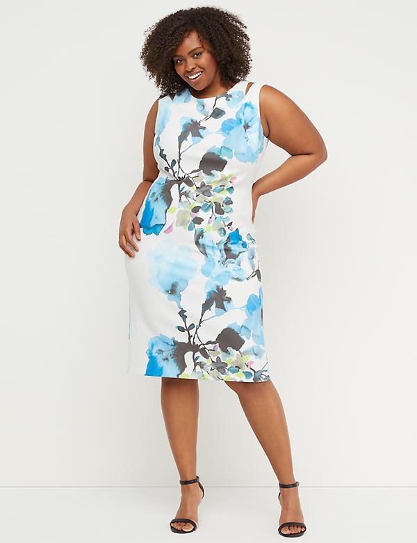 d74fcc4b7db9 Floral Cutout Sheath Dress