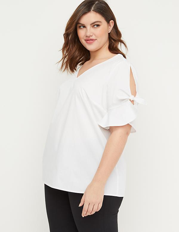 Slash-Sleeve Poplin Top