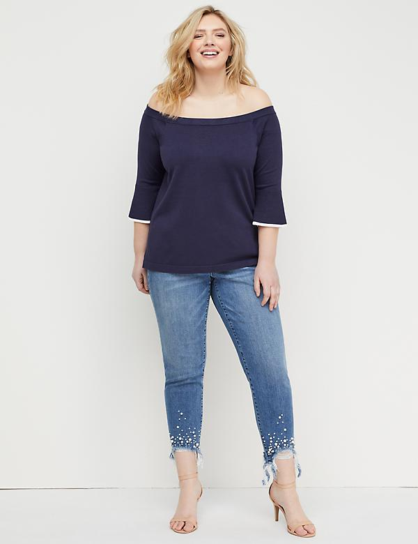 Bell-Sleeve Off-the-Shoulder Sweater