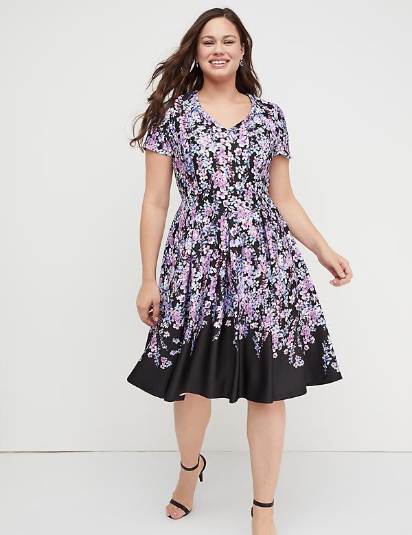3bce6ee025f Floral Scuba Fit   Flare Dress