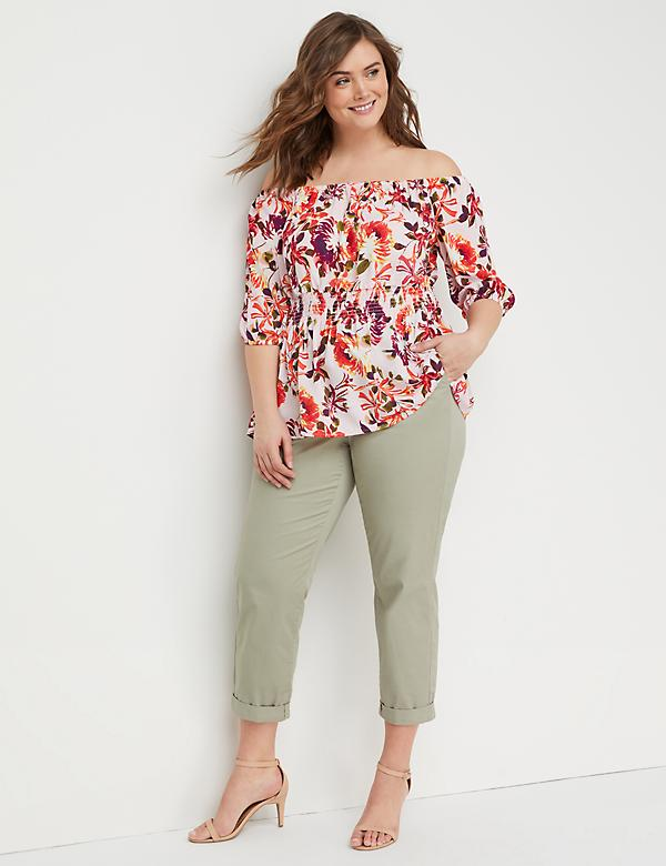 Floral Smocked-Waist Off-the-Shoulder Top