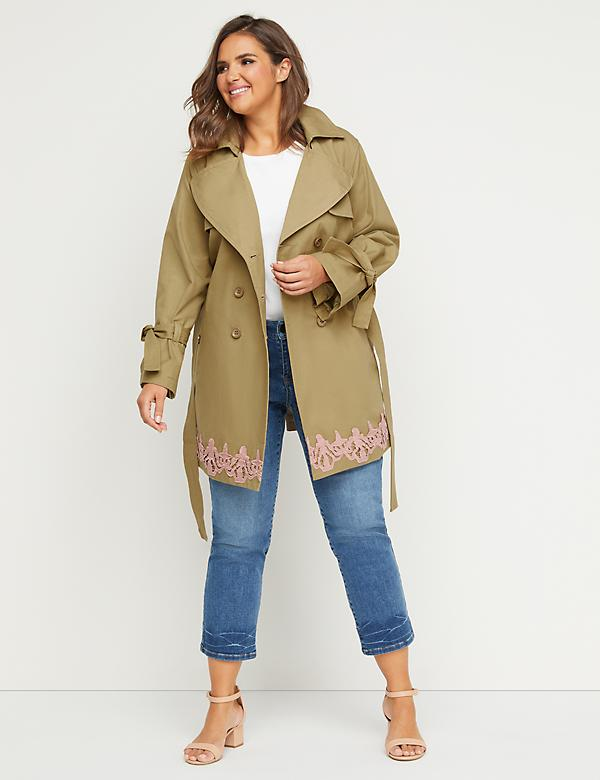 Trench Coat with Lace Applique