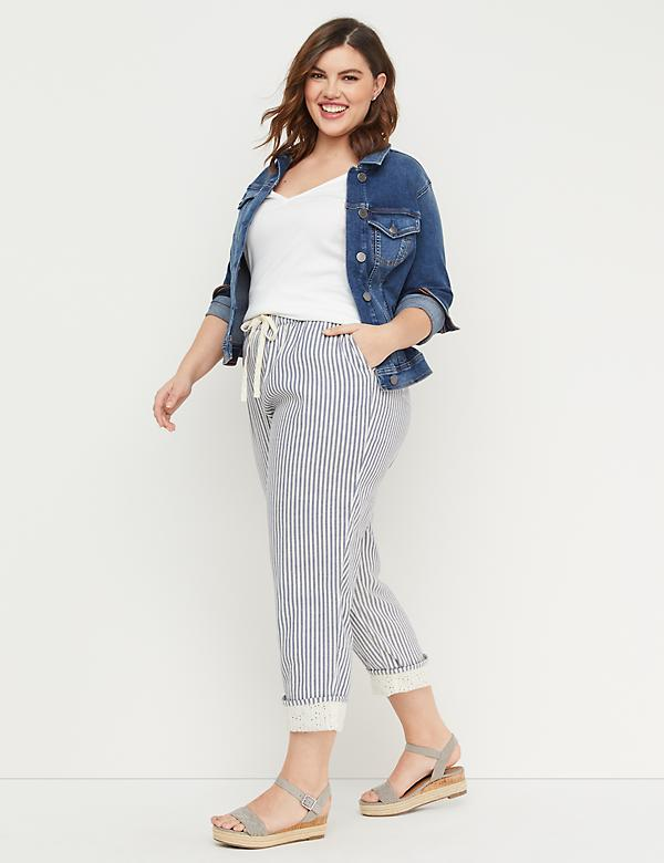 Striped Twill Wide Leg Crop - Cuffed Lace Hem