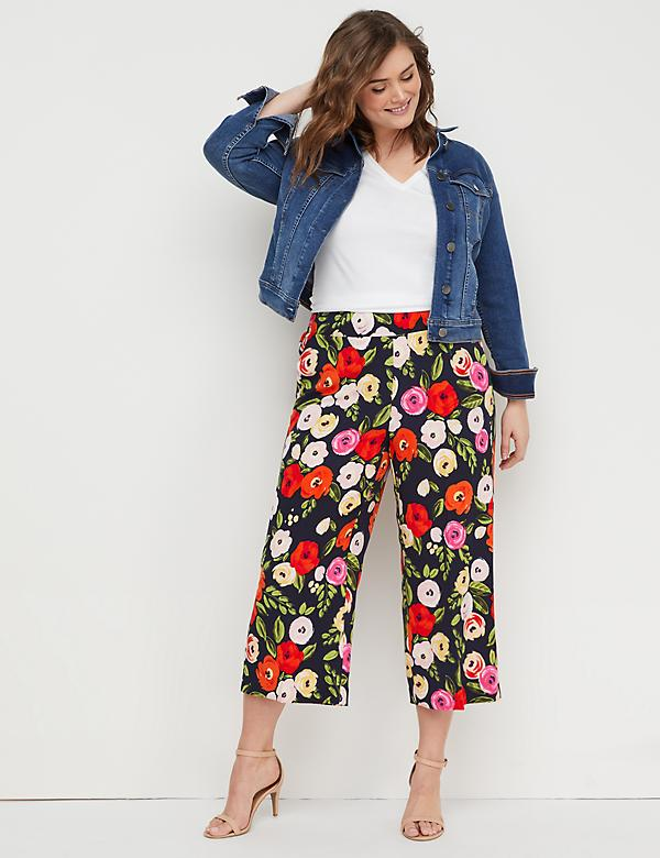 Wide Leg Crop Pant - Pull-On Crepe