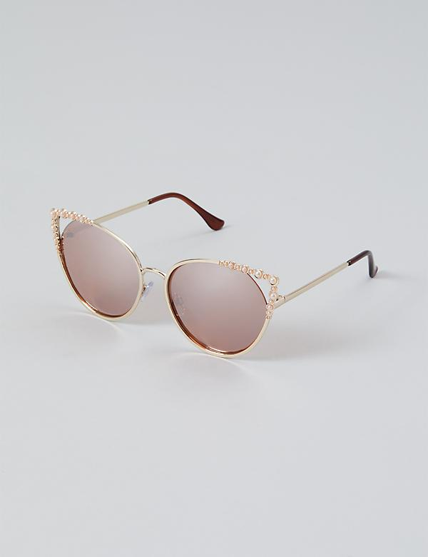 Faux Pearl Metal Cateye Sunglasses