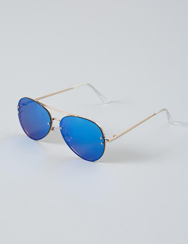 Layered Color-Lens Aviator Sunglasses
