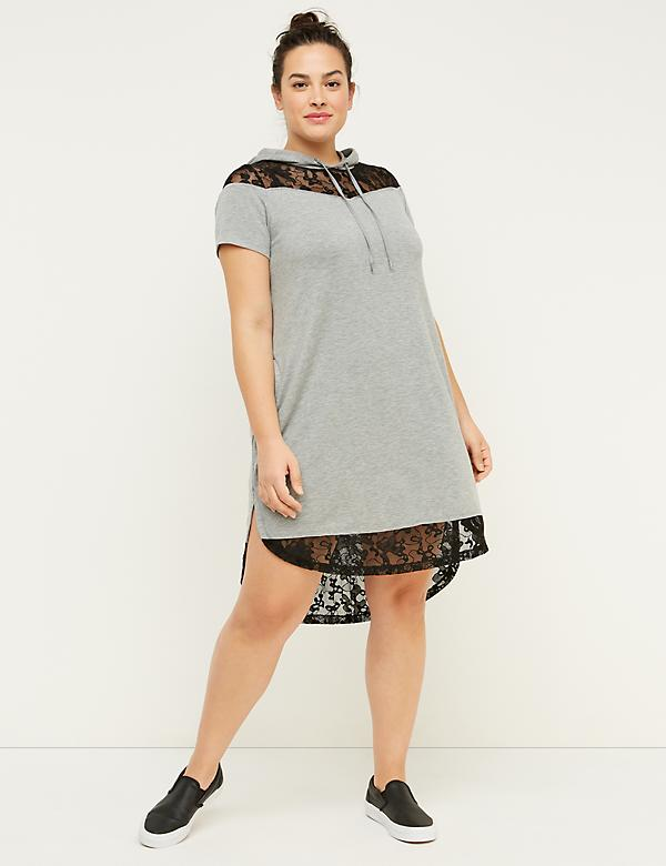 Lace-Trim Active Hoodie Dress