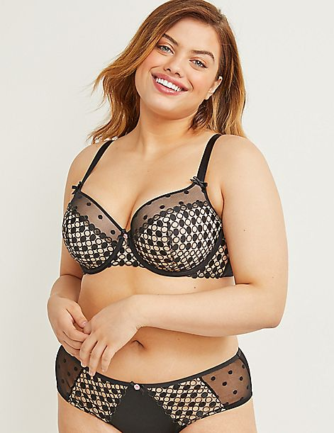 Spot Embroidery Lightly Lined Balconette Bra
