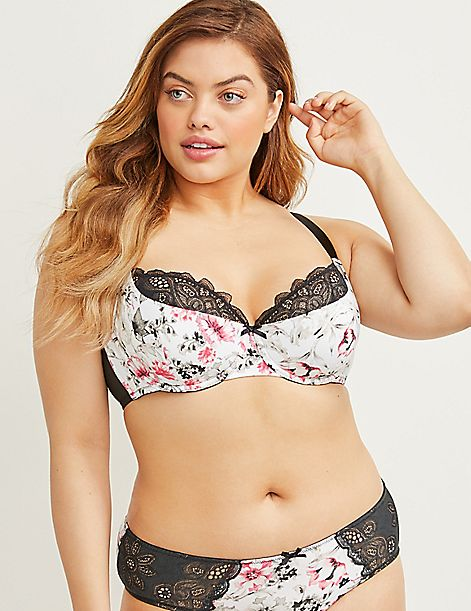 Floral Lightly Lined French Balconette Bra