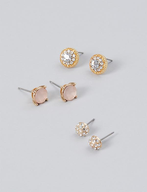 Stud Earrings 3-Pack - Fireballs & Faceted Stones