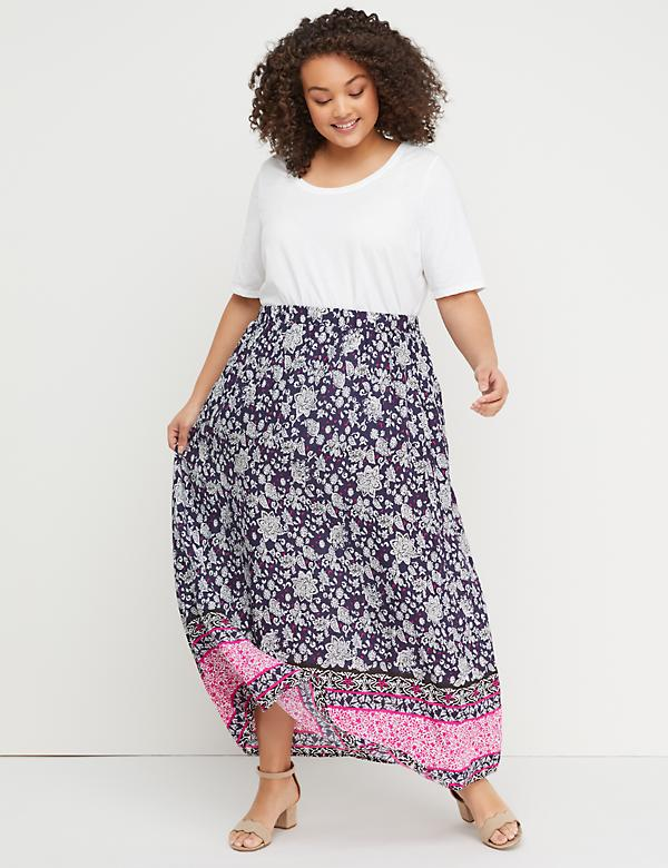 Printed Pull-On Maxi Skirt