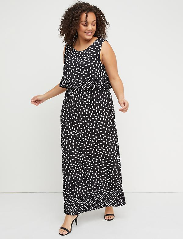 Layered Polka Dot Maxi Dress