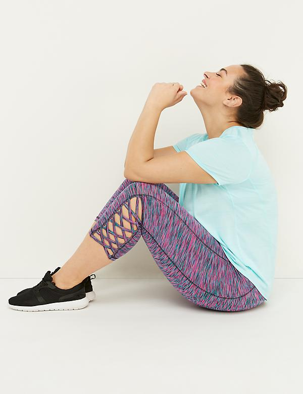 Wicking Active Capri Legging - Spacedye Strappy Hem