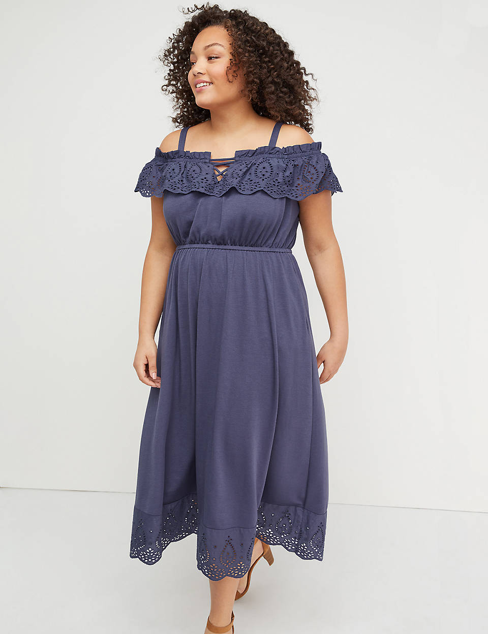 4bbf8ef8814b Eyelet Trim Off-the-Shoulder Midi Dress | Lane Bryant