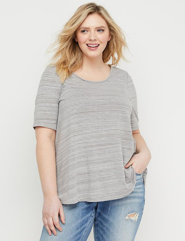 Striped Perfect-Sleeve Swing Tee