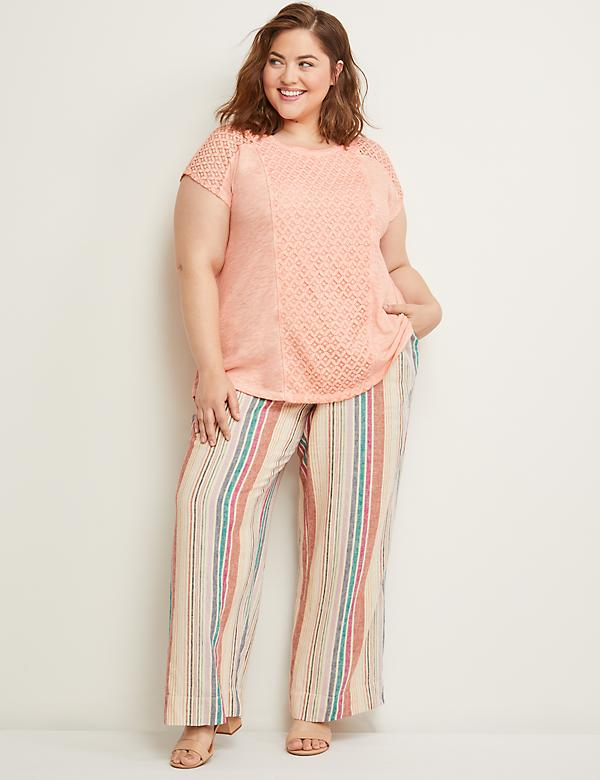 Striped Linen Wide Leg Pant