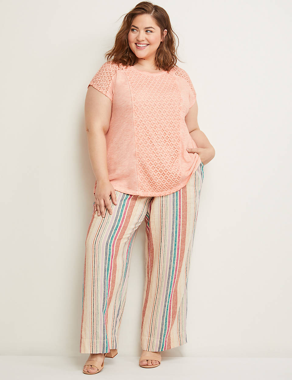 3102720f423a29 Striped Linen Wide Leg Pant | Lane Bryant