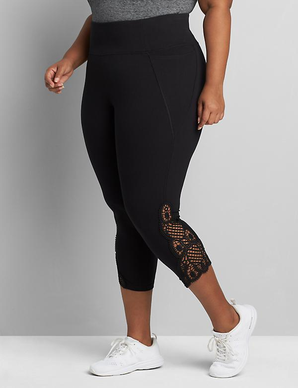 Signature Stretch Active Capri Legging - Embroidered Lace Inset