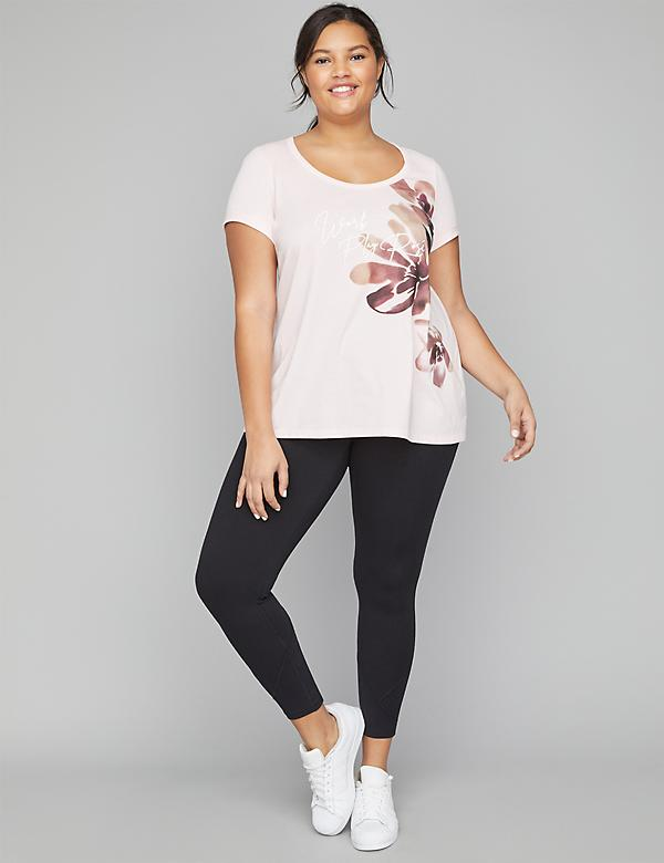 Work Play Rose Open-Back Graphic Active Tunic Top
