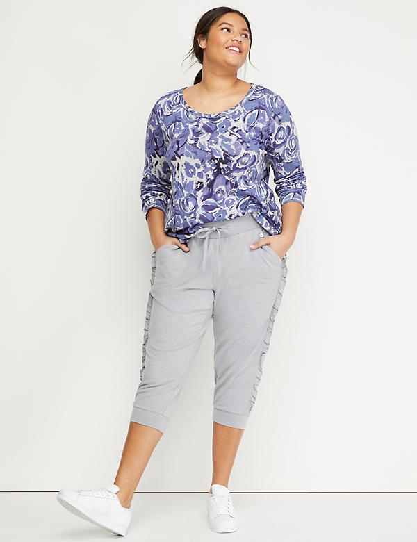 Side-Ruffle Active Capri Jogger