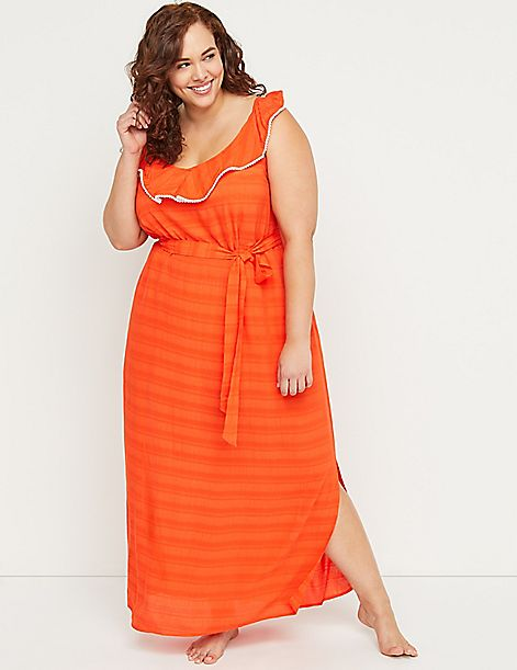 Ruffle Maxi Cover-Up Dress