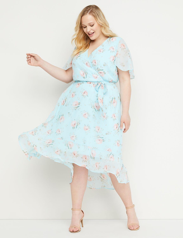 1930s Art Deco Plus Size Dresses   Tea Dresses, Party Dresses Lane Bryant Womens High-Low Faux-Wrap Fit  Flare Midi Dress 26 Aqua Roses $89.95 AT vintagedancer.com