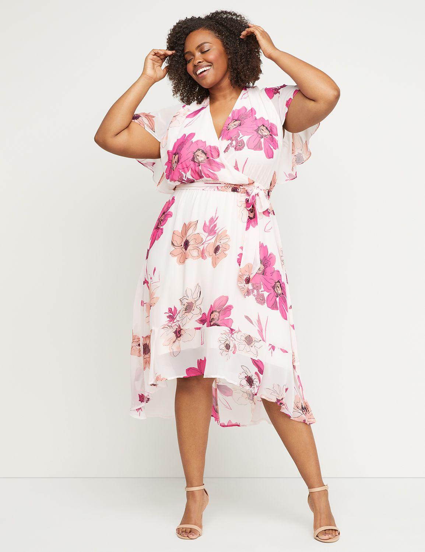 1930s Art Deco Plus Size Dresses | Tea Dresses, Party Dresses Lane Bryant Womens High-Low Faux-Wrap Fit  Flare Midi Dress 20 Pink And White Floral Print $89.95 AT vintagedancer.com