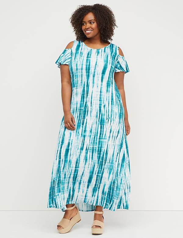 Cold-Shoulder Tie-Dye Maxi Dress