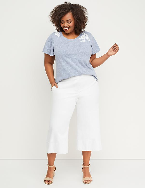 Linen Crop with Cuffed Hem