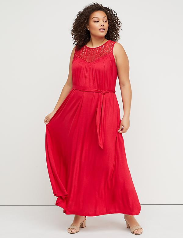 Tie-Belt Crochet Yoke Maxi Dress